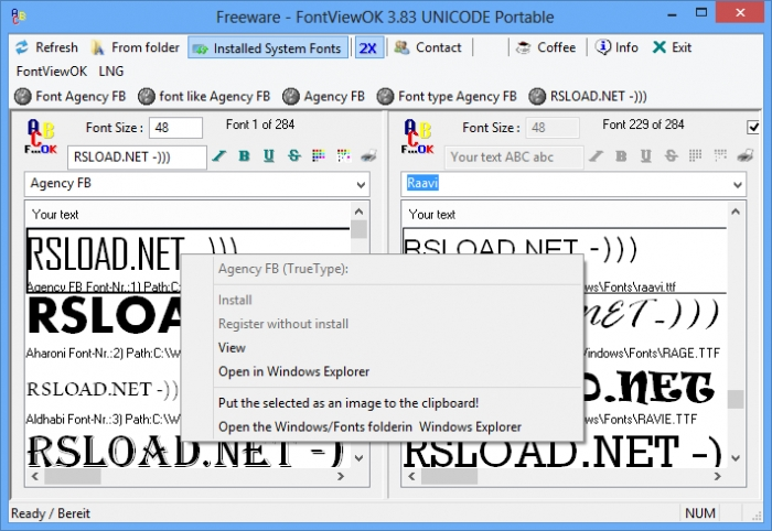 FontViewOK,نمایش و مدیریت فونتهای ویندوز,نمایش فونت