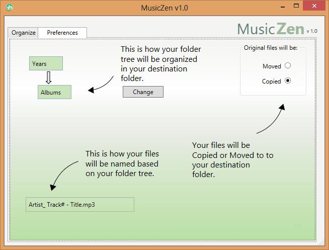 MusicZen سازماندهی موزیکها