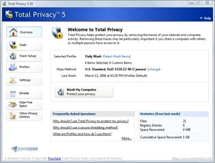 پاکسازی تاریخچه مرورگر Pointstone Total Privacy