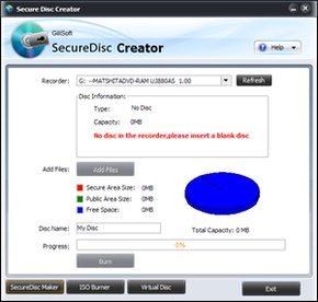 پسورد گذاری GiliSoft Secure Disc Creator