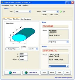 محاسبه حجم وزن AVD Mass & Volume Calculator