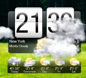 نمایش وضعیت آب و هوا HTC Home Apis ساعت
