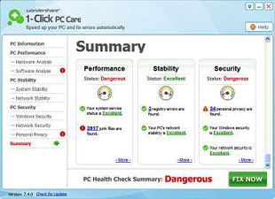 افزایش سرعت Wondershare 1-Click PC Care