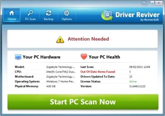 آپدیت درایور ReviverSoft Driver Reviver