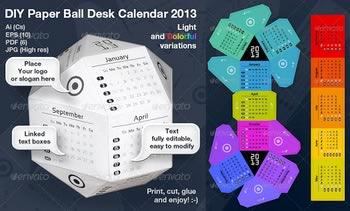 دانلود تقویم فانتزی Paper Ball Calendar 2013