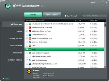 حذف کامل برنامه های نصب شده IObit Uninstaller