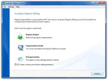 یکپارچه سازی رجیستری ویندوز Auslogics Registry Defrag