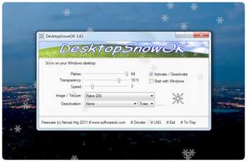 بارش برف روی دسکتاپ DesktopSnowOK