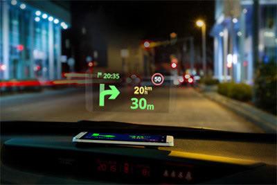 بازتاب نقشه روی شیشه اتومبیل سایجیک